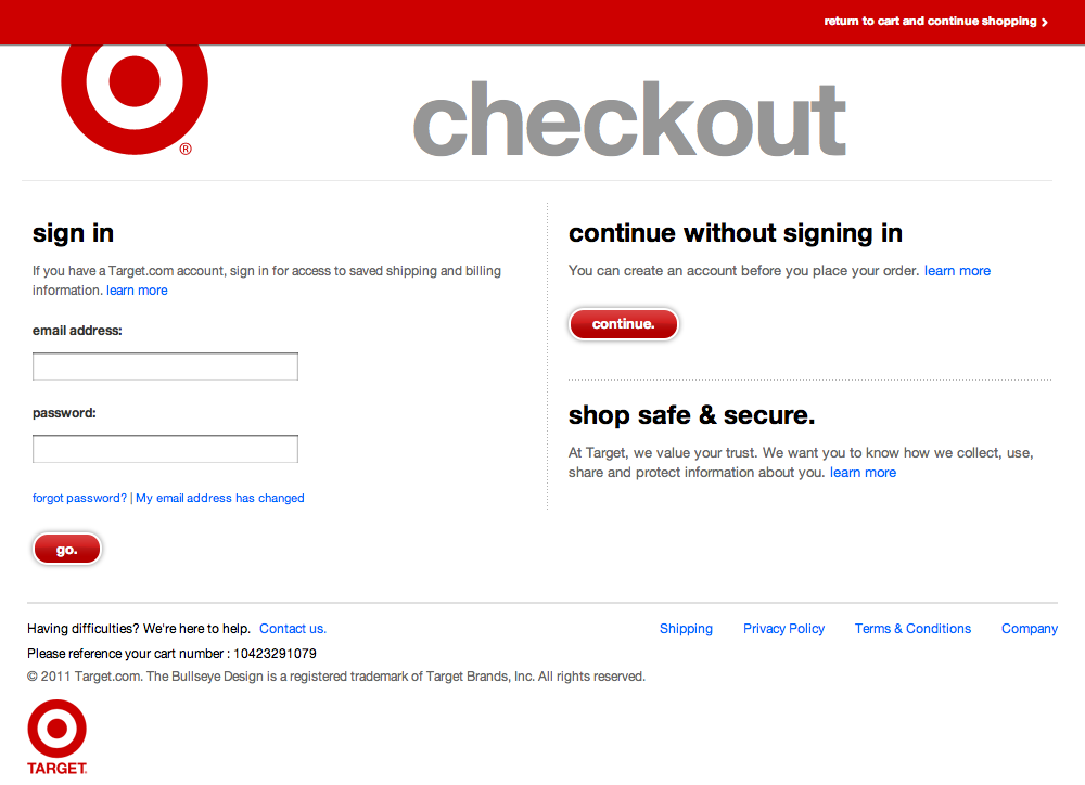 Target's Account Checkout Step