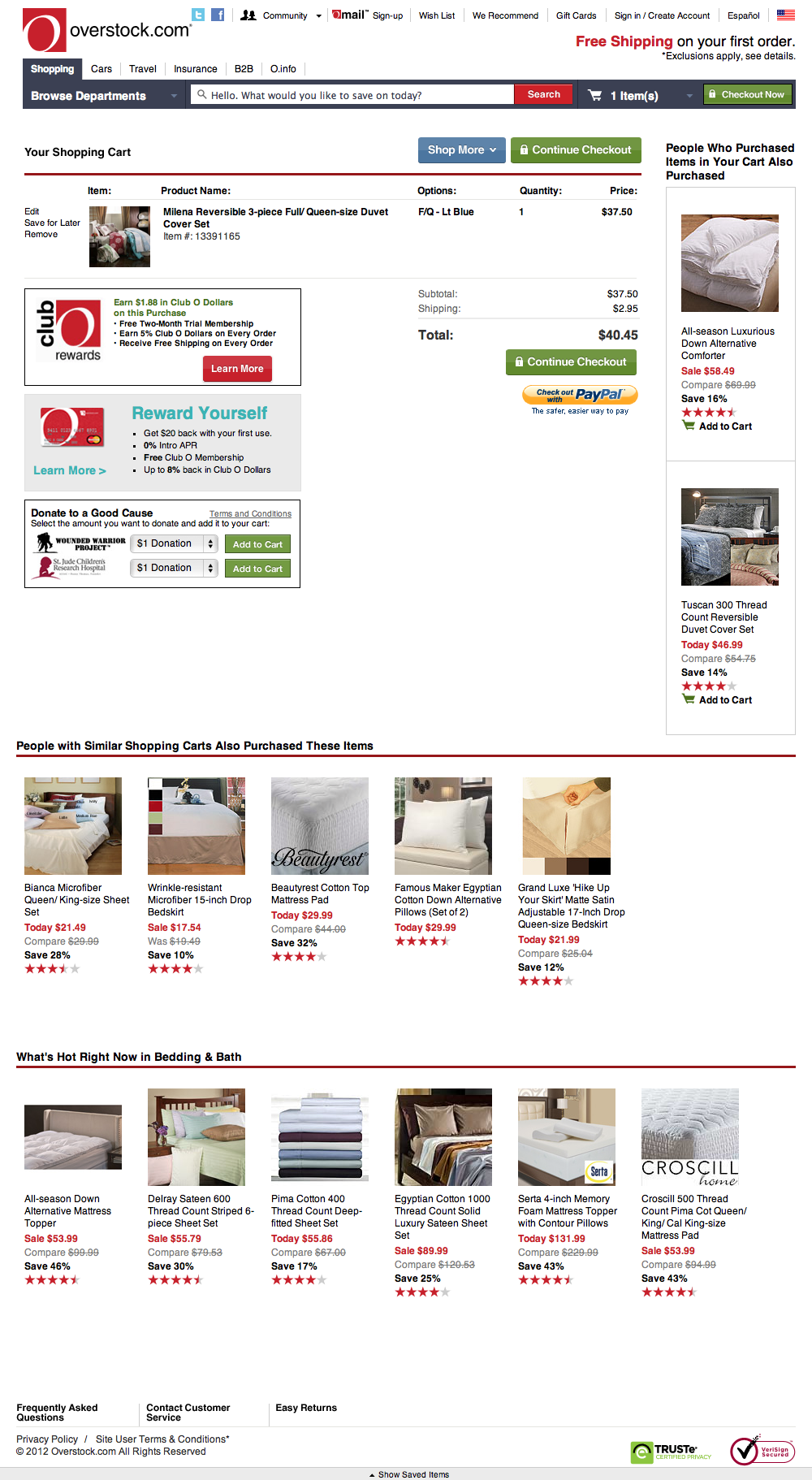 Overstock.com's Cart Checkout Step