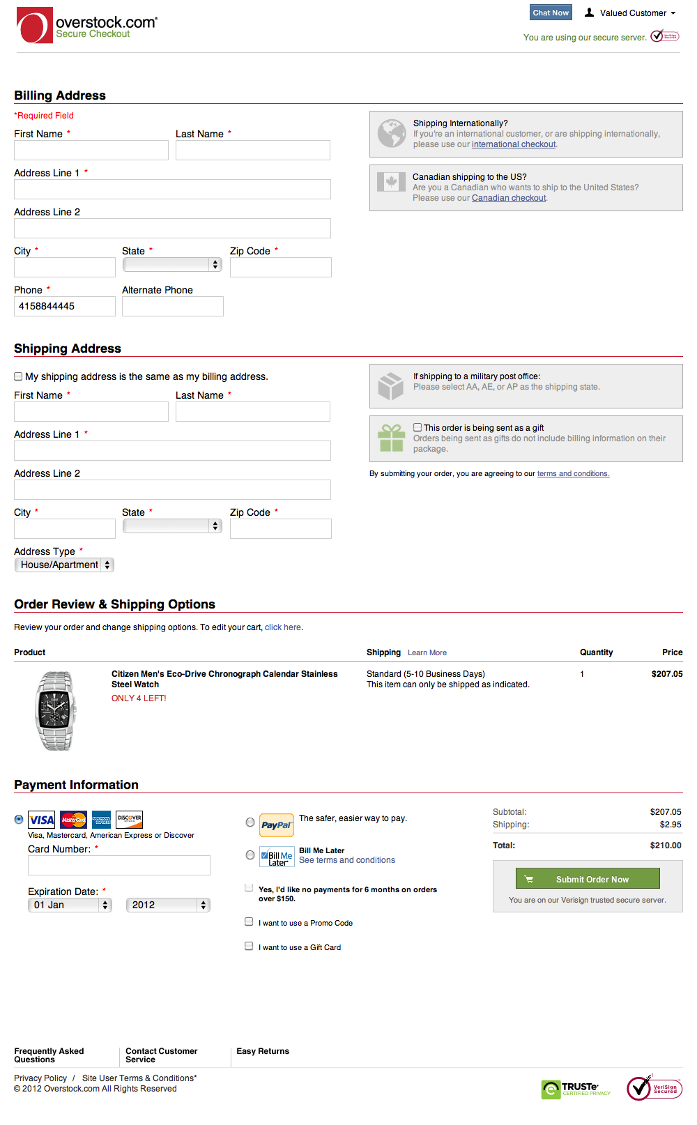 Overstock.com's Shipping address and Delivery options and Billing address and Payment and Order review Checkout Step