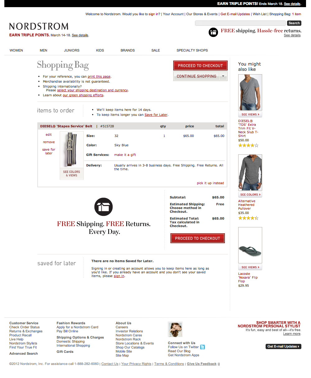 Nordstrom's Cart Checkout Step