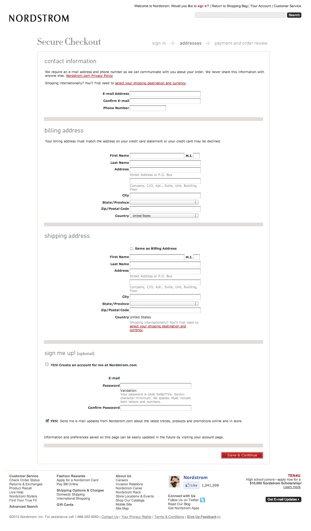 Nordstrom's Shipping address and Billing address Checkout Step
