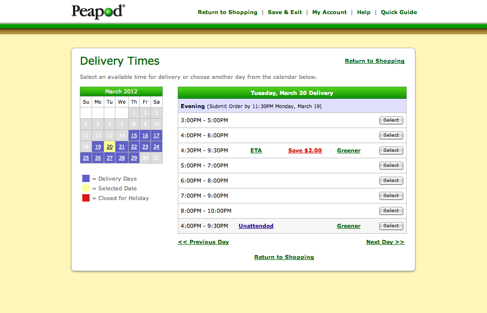 Peapod's Delivery options Checkout Step