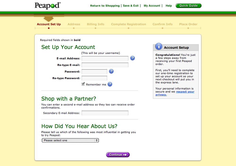 Peapod's Account Checkout Step