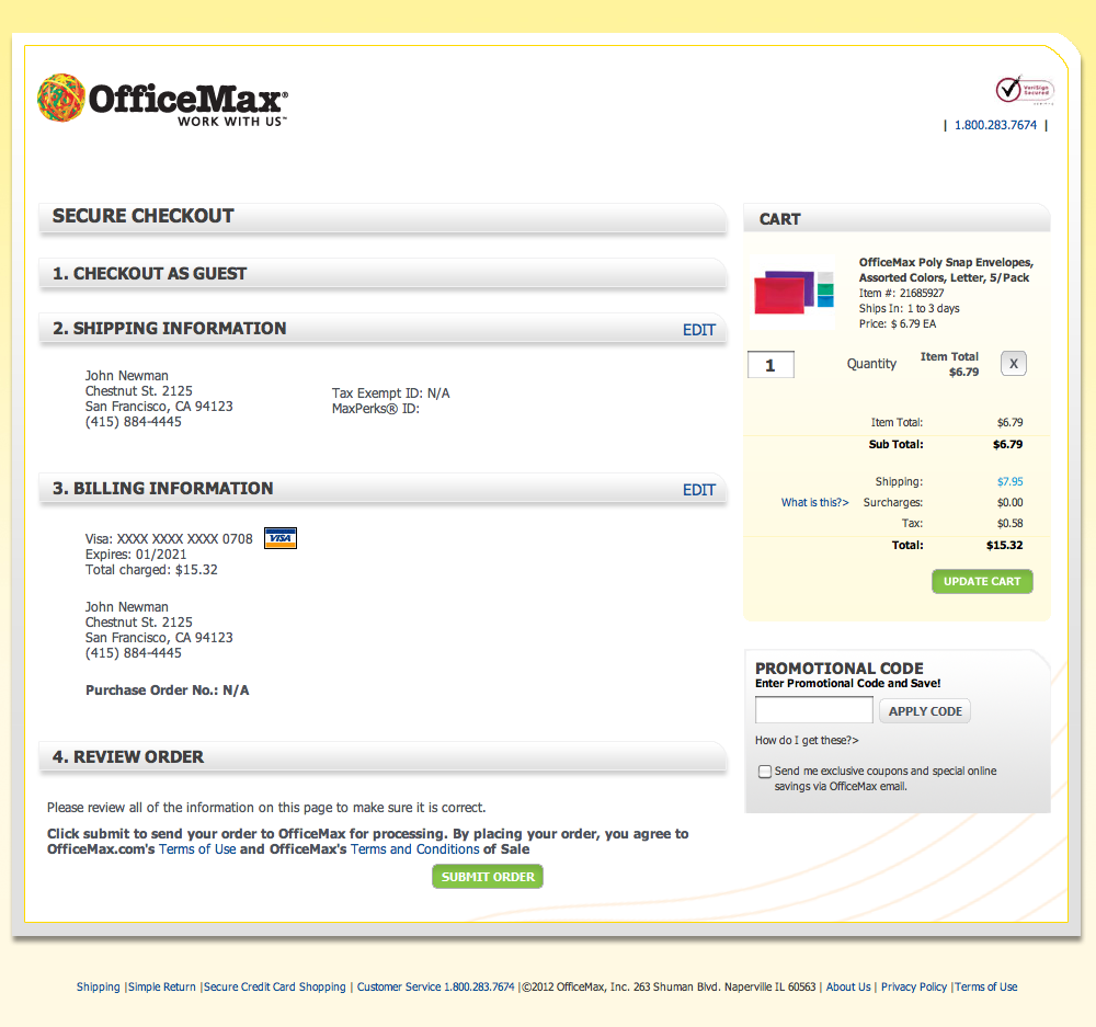 OfficeMax's Order review Checkout Step