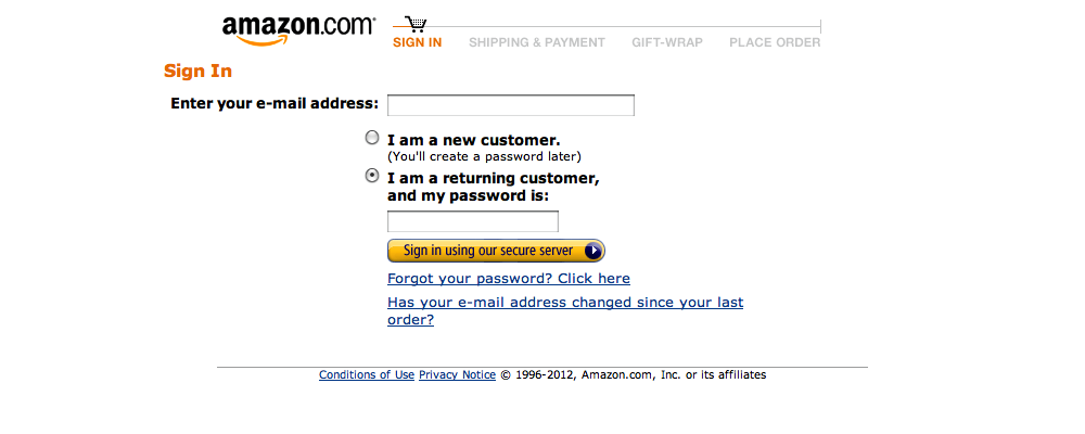 Amazon's Account Checkout Step