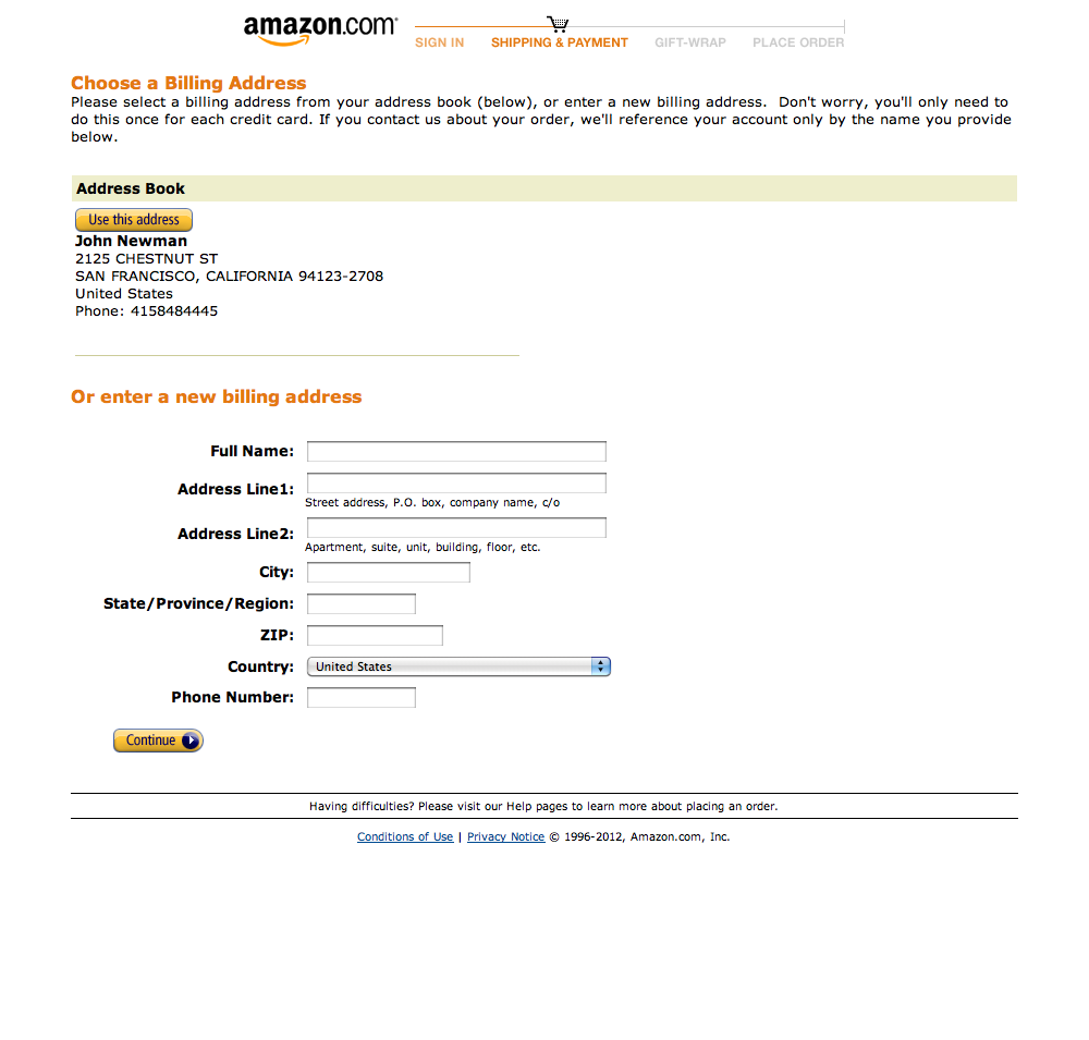 Amazon's Billing address Checkout Step