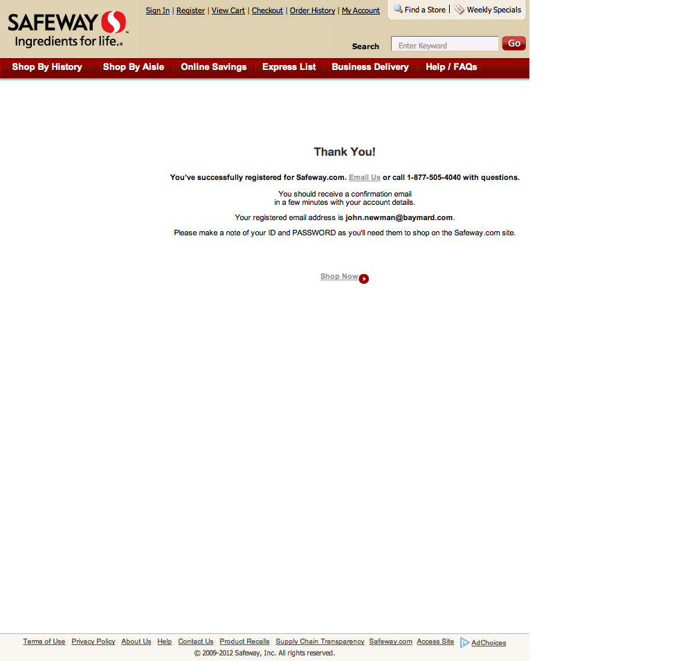 Safeway's Account Checkout Step
