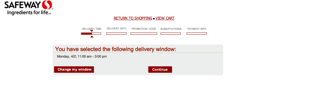 Safeway's Delivery options Checkout Step