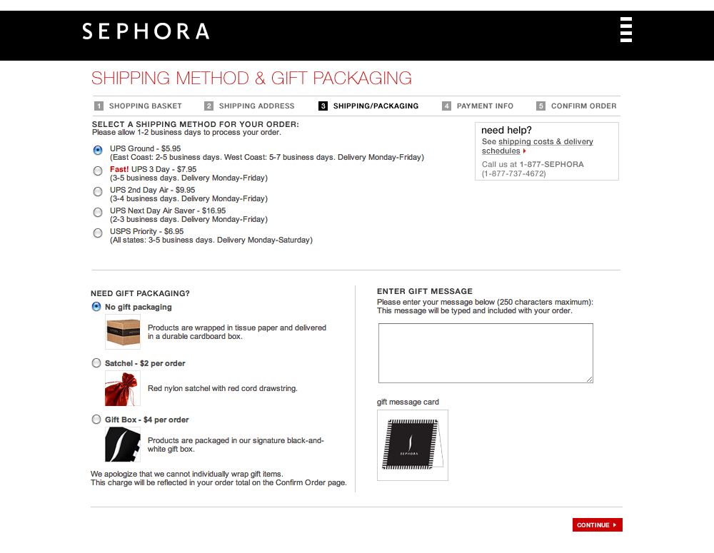 Sephora's Delivery options Checkout Step