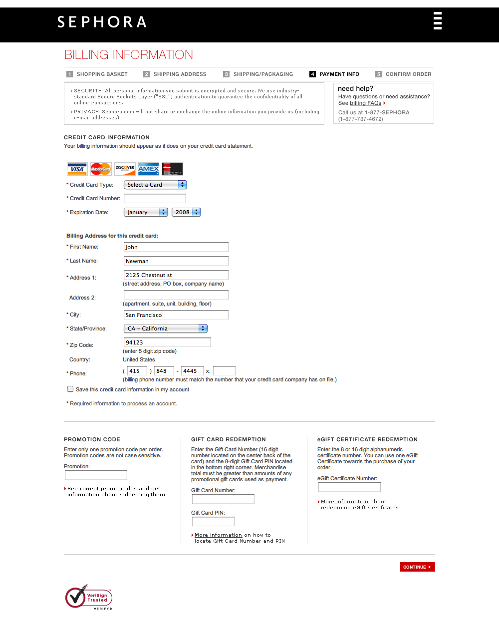 Sephora's Billing address and Payment Checkout Step