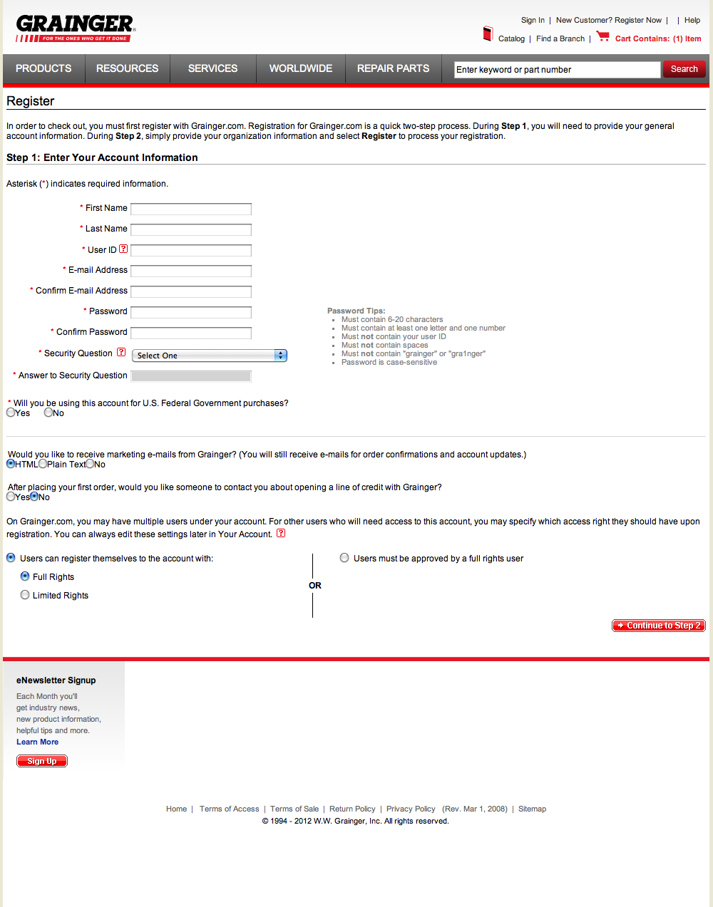 Grainger's Account Checkout Step