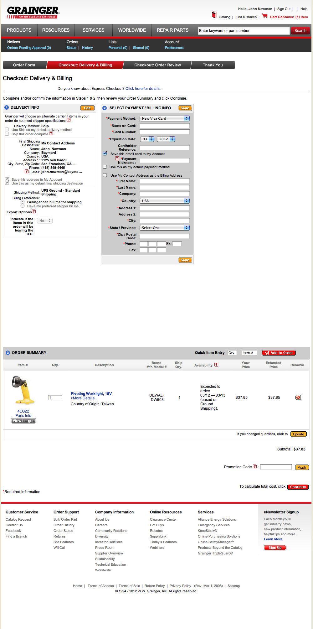 Grainger's Payment Checkout Step