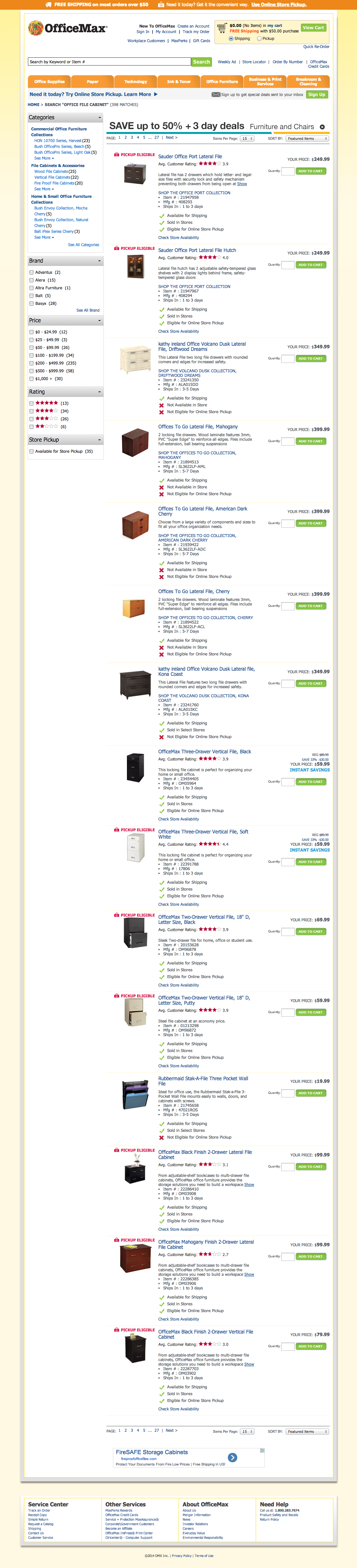 OfficeMax's Search Results Page