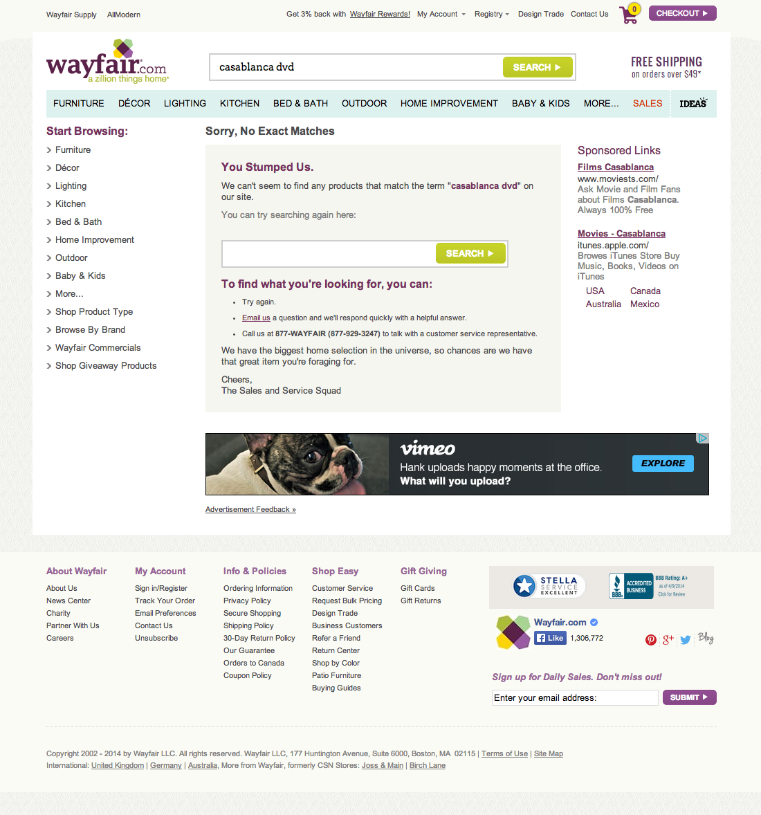 Wayfair's No Results Page