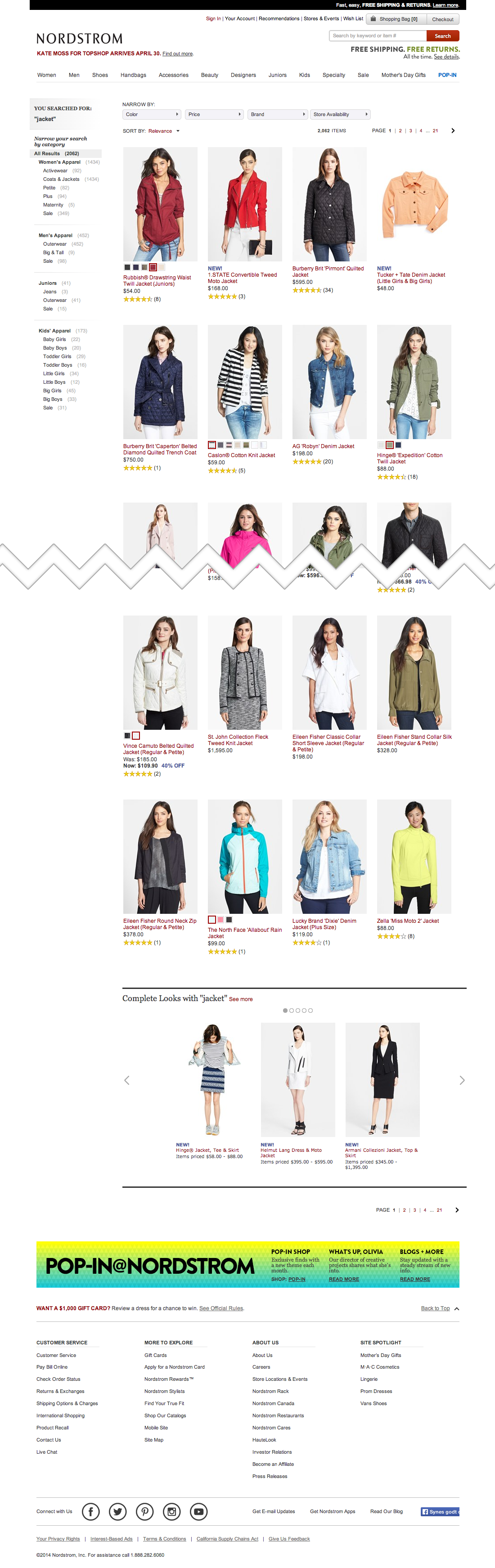 Nordstrom's Search Results Page