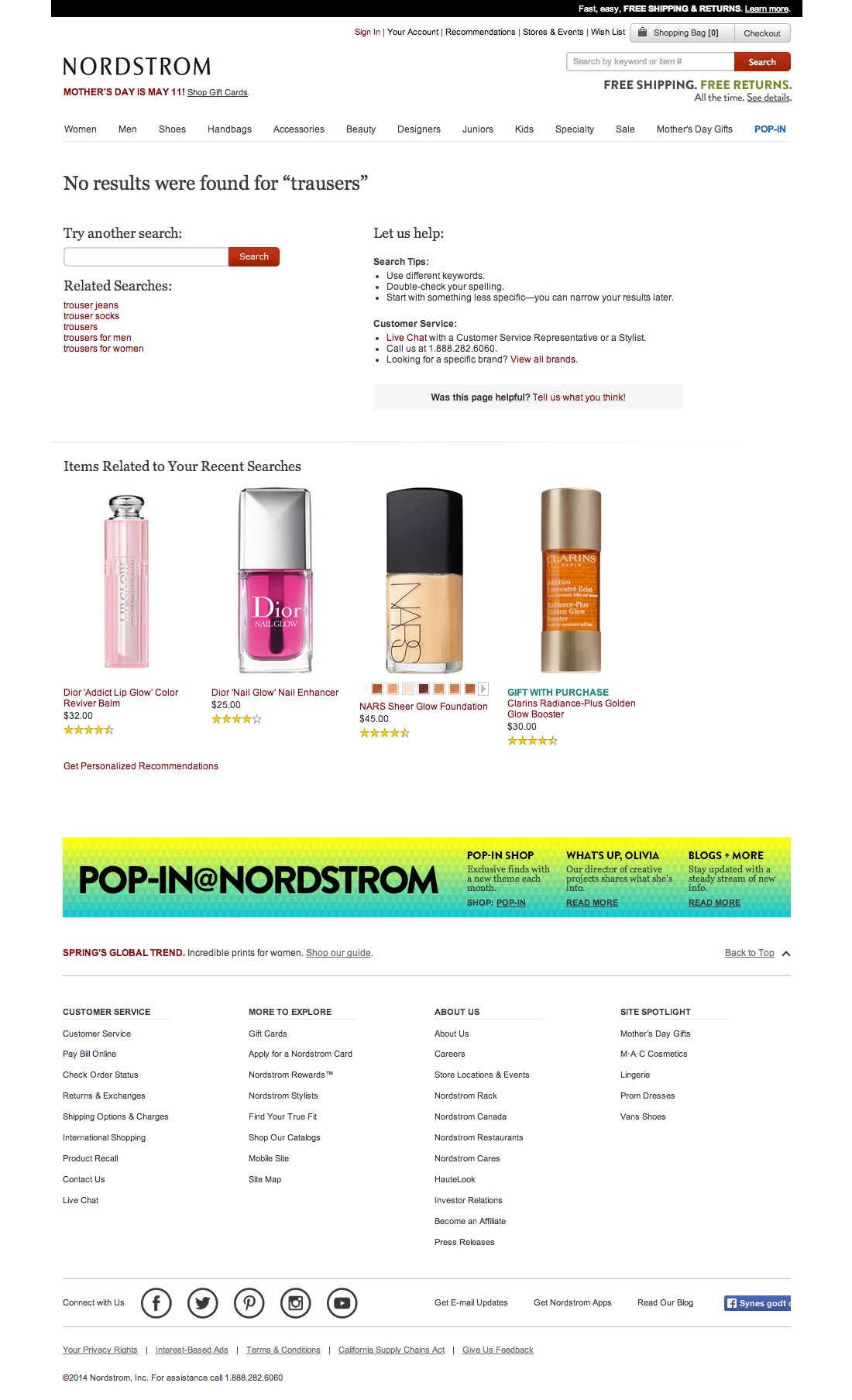Nordstrom's No Results Page