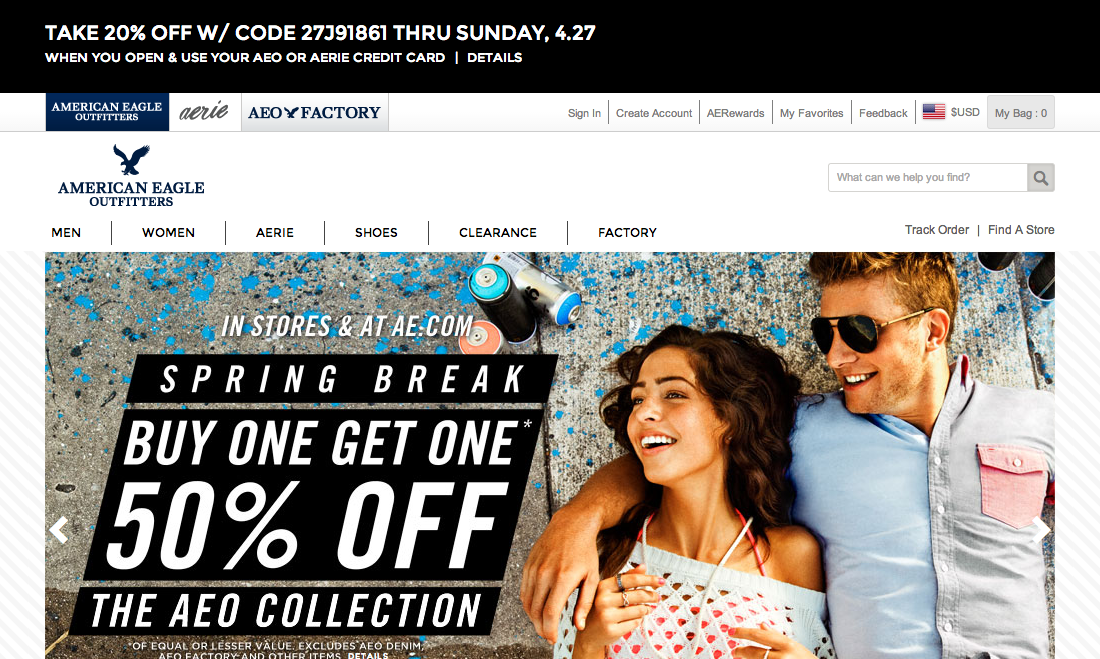 American Eagle Outfitters' Search Field