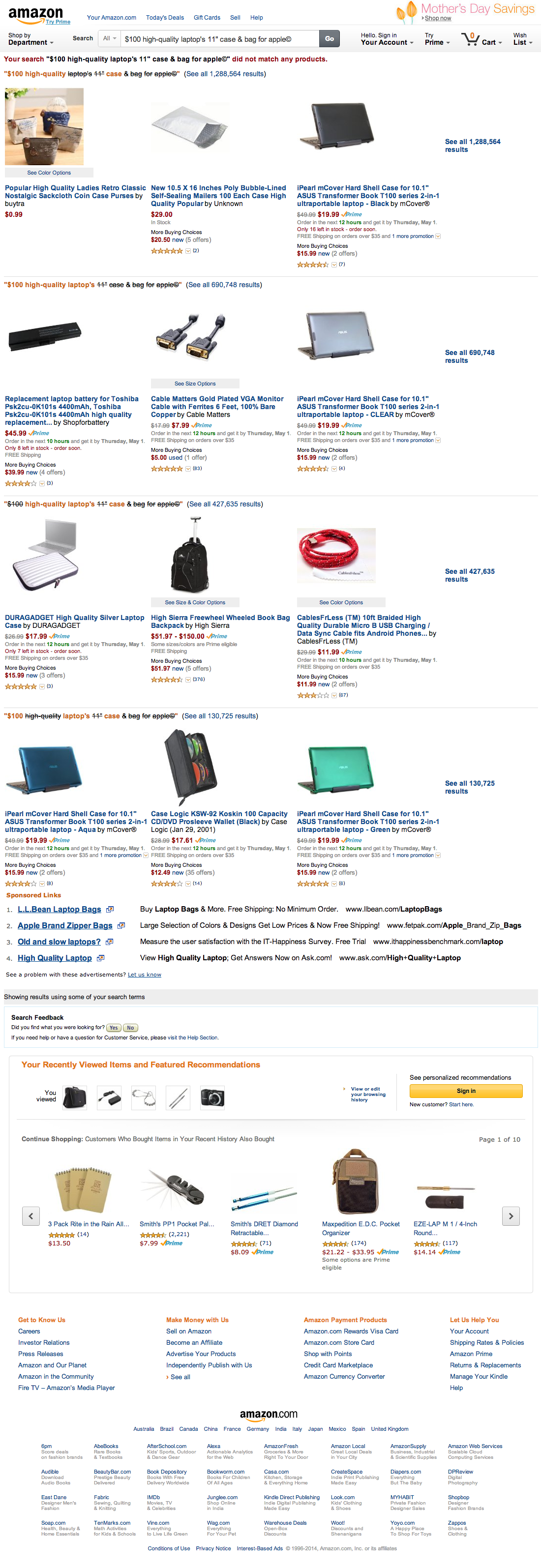 Amazon's No Results Page
