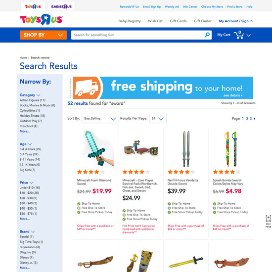 Toys Are Us Search : Toys r us search usability score baymard institute