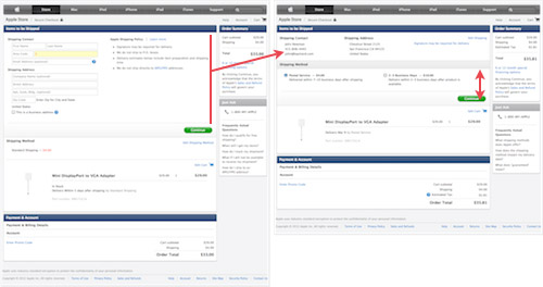 Apple makes use of an accordion style form for their online checkout process.