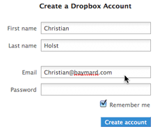 Dropbox only ask for your e-mail and then simply use that as your username too.