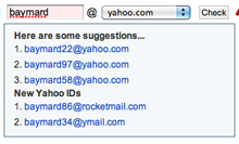 Yahoo suggest alternative usernames if the one you want is already taken.