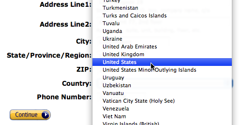 (Click to see larger image.) Amazon use a drop-down for selecting country. A text field with auto-complete would be a better solution.