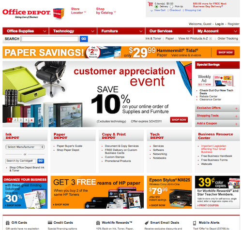 Click for full-size screenshot. OfficeDepot direct you to category pages, not product pages.