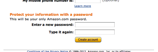 Amazon should consider adding a description outlining their password rules.