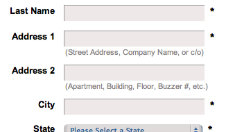 Coastal's address line descriptions explain what information should go in line 1 and line 2 respectively.