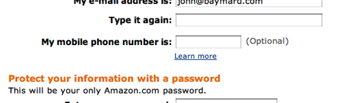 Amazon uses a 'Learn more' link to explain why they're asking for the customer's phone number.