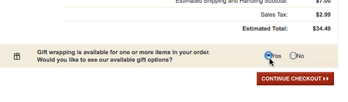 Levi's allow you to add gift wrapping but doesn't show the options immediately when you accept.
