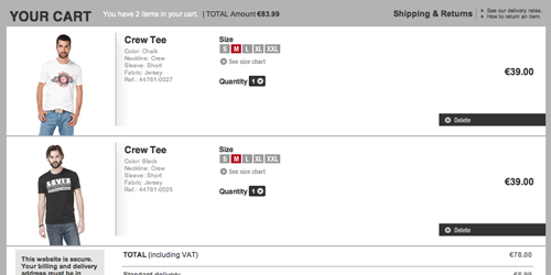 Displaying product thumbnails in the cart allows for instant verification that the correct product was indeed added.