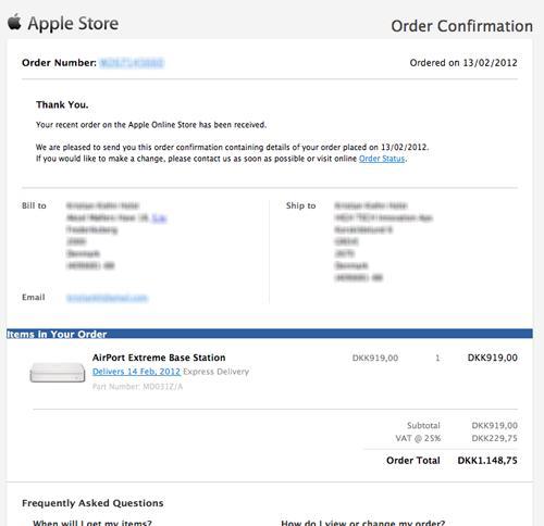 A mockup of Apple's order confirmation e-mail with a product thumbnail added.