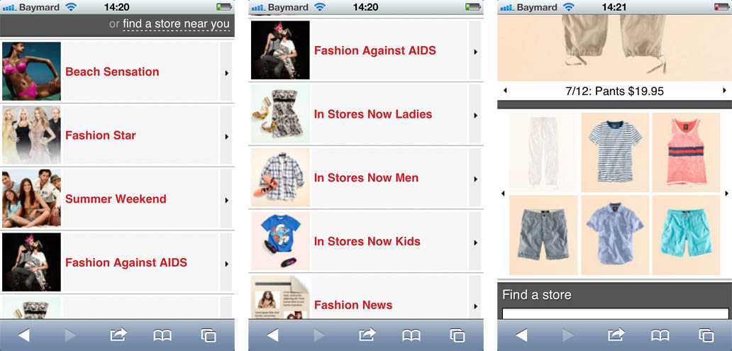 H&M's mobile site, with a limited catalog, mislead the subjects to belive the entire product catalog was there.