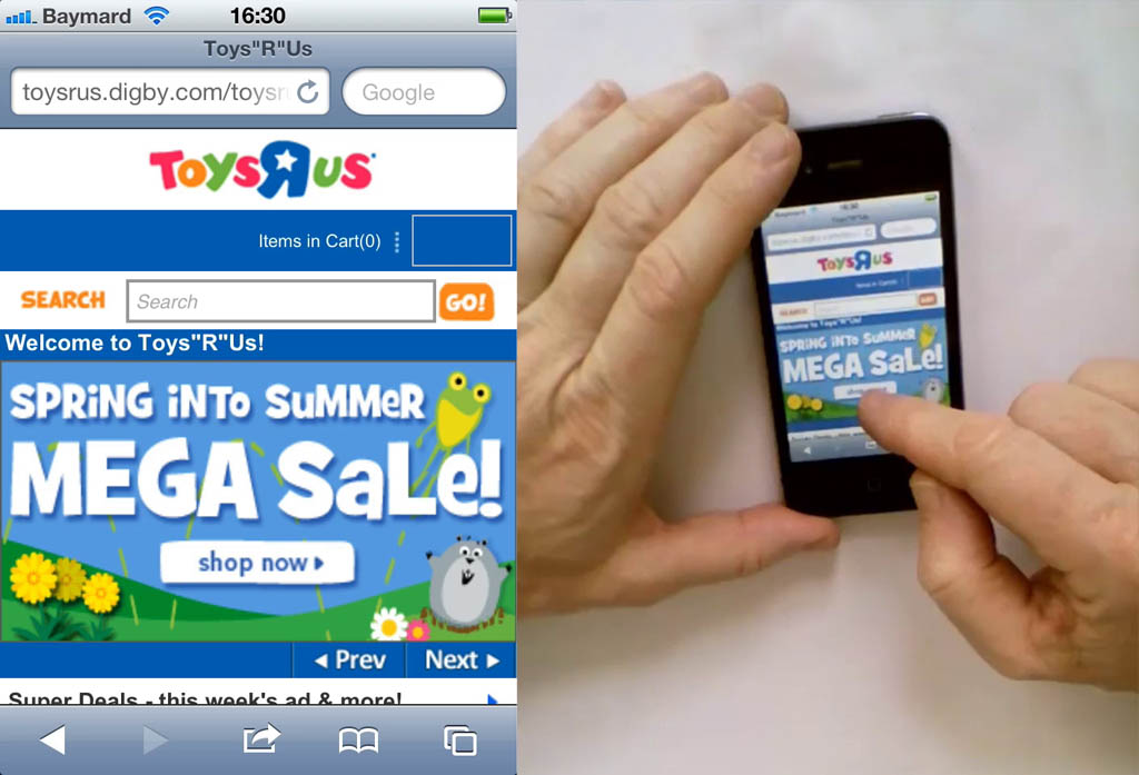 ToysRus mobile website