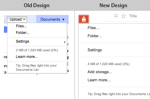 Google Docs design for upload files – new vs old