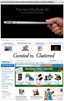 Apple and Walmart have two very different approaches to an e-commerce home page.