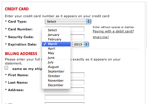 Macy's approach with month names and 4-digit year makes it needlessly difficult for the customer to match the values in the virtual fields with those on the physical card.