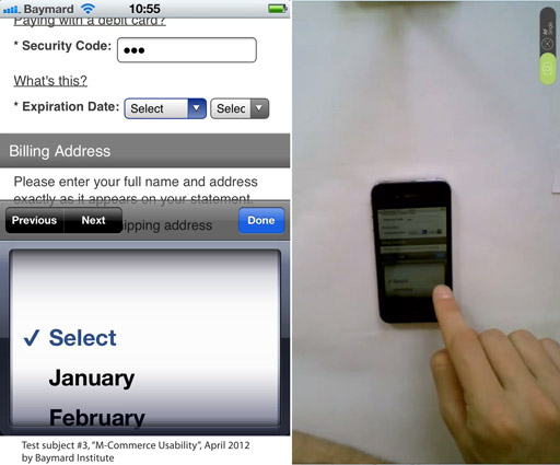 A screengrab from our mobile e-commerce study of a subject interacting with month names.
