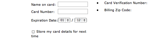 Adding a forward-slash between the expiration date fields will help further the resemblance between card and screen.