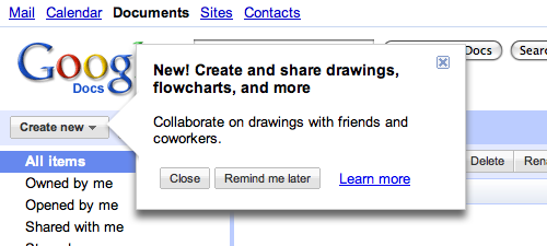 Google Docs use this clever dialog to call attention to a new feature.