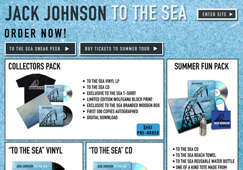 Jack Johnson's temporary splash page for his new album, To The Sea.