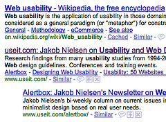 The link to Jakob Nielsen's website is marked as visited in this Google search.