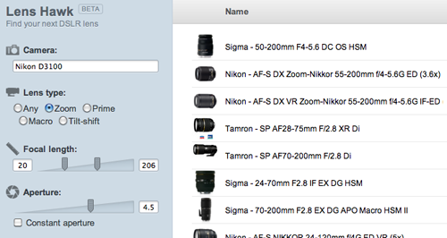 Lens Hawk is a DSLR lens database.
