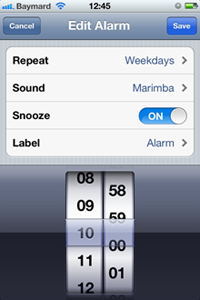 iOS dial skeuomorph in the Alarm app.