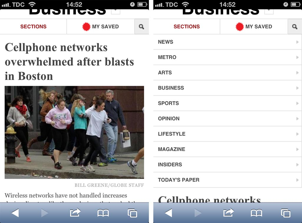 The Boston Globe expands the navigation items inline, which makes it easier for the user to compare and scroll them.