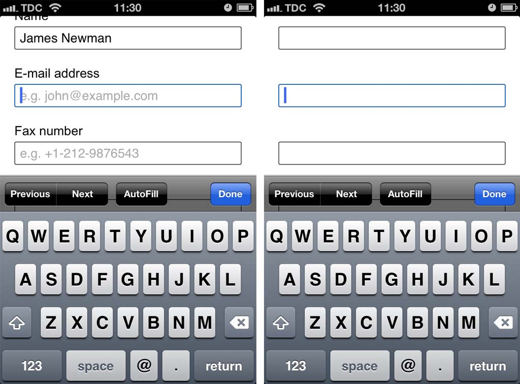 Mobile Form Usability: Never Use Inline Labels - Articles - Baymard Institute