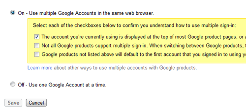 Click for full size image. Google asks you to confirm the three implications of Multiple Google Accounts.