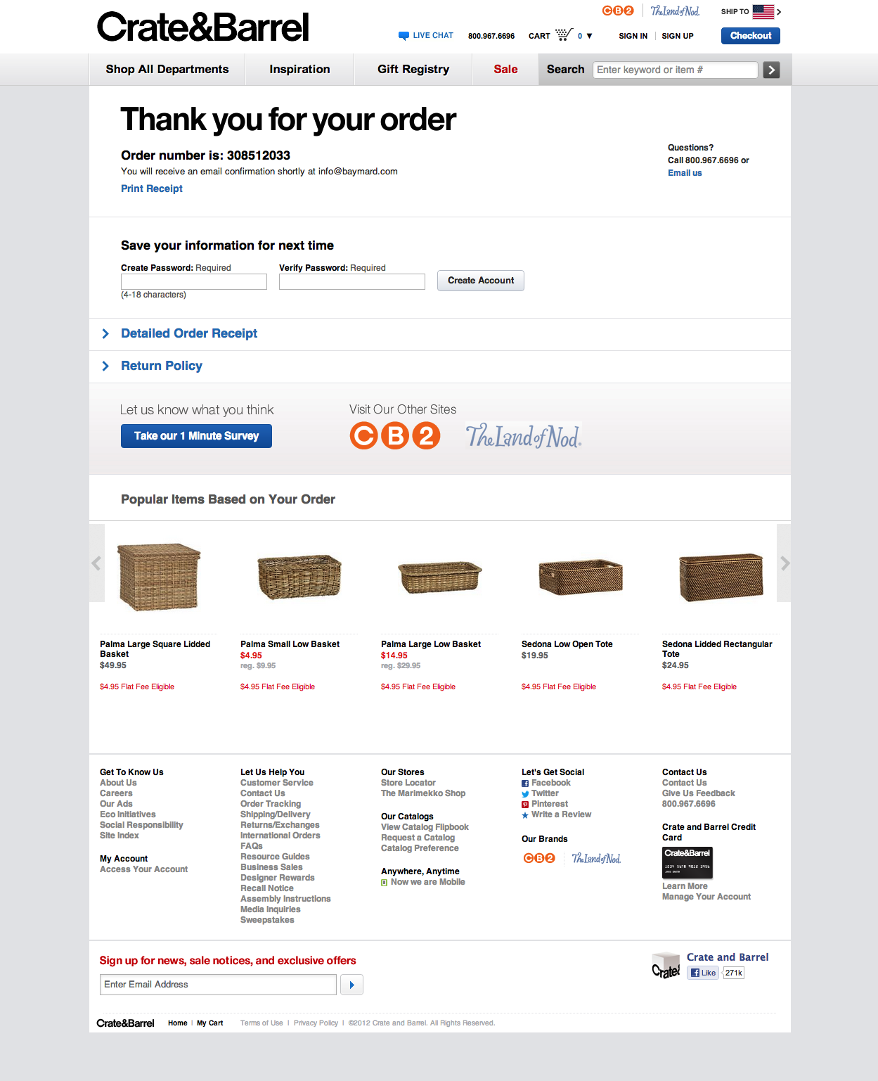 Crate and barrel place the account creation at the order confirmation